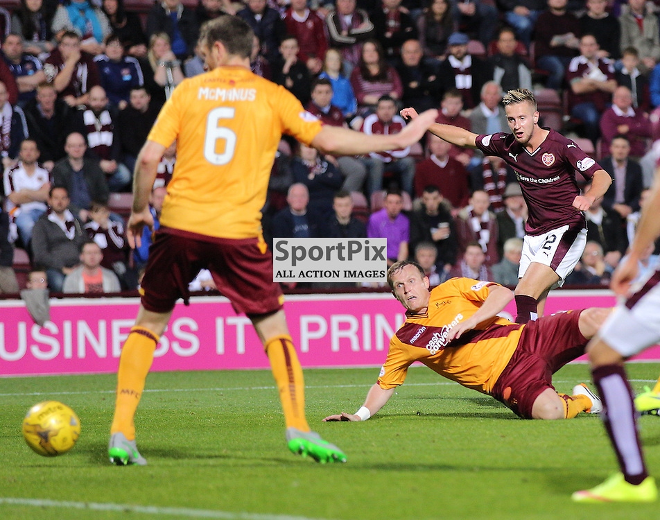 Hearts v Motherwell Scottish Premiership 12 August 2015; Billy King (Hearts, 12) scores the second during the Heart of Midlothian v Motherwell Scottish Premiership match played at Tynecastle Stadium, Edinburgh; <br /> <br /> &copy; Chris McCluskie | SportPix.org.uk