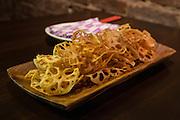 Renkon chips (fried lotus root) at SakaMai.
