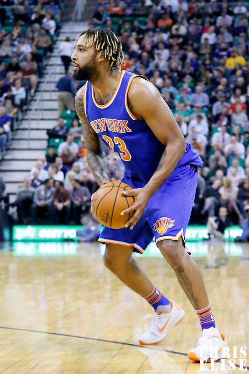 09 December 2015: New York Knicks forward Derrick Williams (23) dribbles during the Utah Jazz 106-85 victory over the New York Knicks, at the Vivint Smart Home Arena, Salt Lake City, Utah, USA.