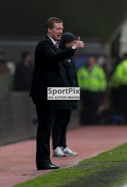 Hearts v Hibernian   SPFL season 2013-2014 <br /> <br /> Gary Locke (Hearts) during the Scottish Premiership Football League match between Hearts and Hibernian at Tynecastle Stadium on 30 March 2014<br /> <br /> Picture: Alan Rennie