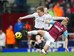 27.02.2011, Upton Park, London, ENG, PL, West Ham United vs Liverpool FC, im Bild Liverpool's Lucas Leiva and West Ham United's Mark Noble during the Premiership match at Upton Park, EXPA Pictures © 2010, PhotoCredit: EXPA/ Propaganda/ D. Rawcliffe *** ATTENTION *** UK OUT!