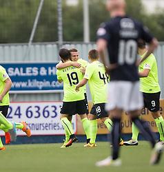 Hibernian's Jason Cummings celebrates after scoring their first goal. Falkirk 1 v 2 Hibernian, the first Scottish Championship game of season 2016/17, played 6/8/2016 at The Falkirk Stadium.
