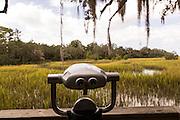 Binocular viewer on salt marsh boardwalk at Honey Horn Plantation on Hilton Head Island, SC