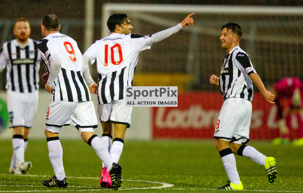 Forfar Athletic v Dunfermline Athletic SPFL League One Season 2015/16 Station Park 26 December 2015<br /> faissal El Bahktoui celebrates making it 1-0<br /> CRAIG BROWN | sportPix.org.uk