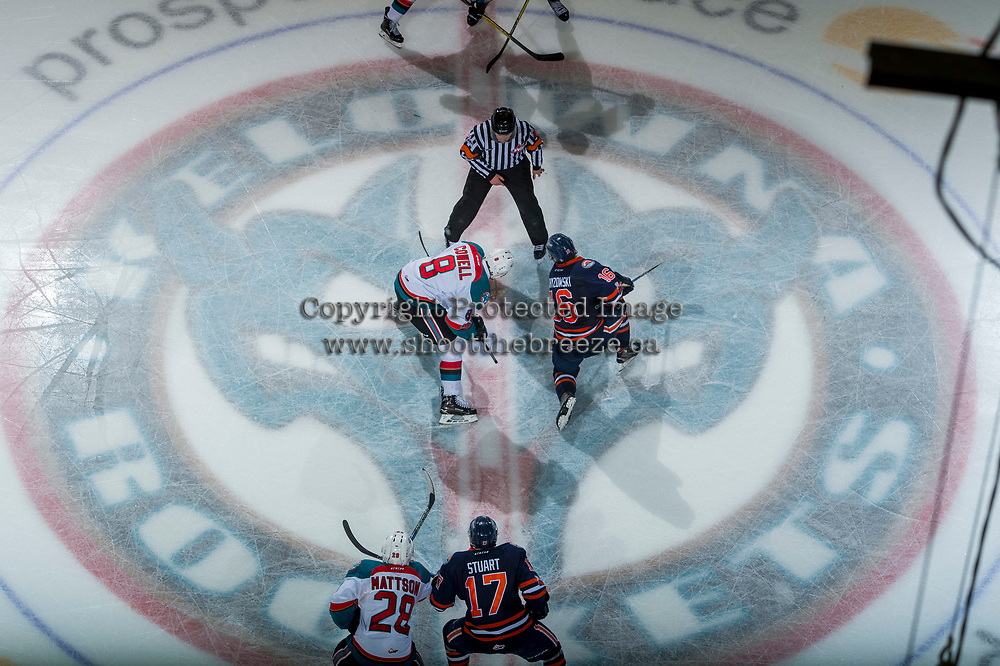 KELOWNA, CANADA - FEBRUARY 24:  Jack Cowell #8 of the Kelowna Rockets faces off against Nick Chyzowski #16 of the Kamloops Blazers at centre ice on February 24, 2018 at Prospera Place in Kelowna, British Columbia, Canada.  (Photo by Marissa Baecker/Shoot the Breeze)  *** Local Caption ***