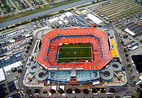 Aerial view of the Sun Life Stadium, 2 days before Superbowl 44 in Opa-Locka, Florida. New Orleans Saints vs the <br /> Indianapolis Colts.   Home of the Fed Ex Orange Bowl, Miami Dolphins, Land Shark Stadium, Dolphin, and Florida Marlins.  (Julia Roberton/via AP Images)