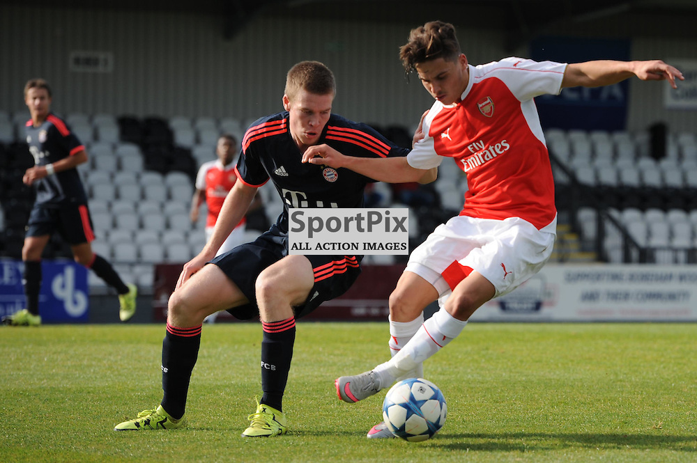 Arsenals Savvas Mourgos and Bayern Munichs Thomas Isherwood in action during the Arsenal u19 v Bayern Munich u19 match on Tuesday 20th October 2015 in the UEFA Youth League at Borehamwood