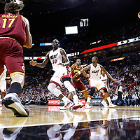 24 January 2012: Cleveland Cavaliers power forward Anderson Varejao (17) looks to pass the ball as Miami Heat center Joel Anthony (50) defends during the Miami Heat 92-85 victory over the Cleveland Cavaliers at the AmericanAirlines Arena, Miami, Florida, USA.