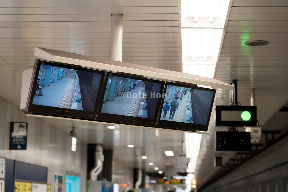 Tokyo underground train station with camera TV screens for the train operator