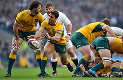 Nick Phipps of Australia passes the ball - Photo mandatory by-line: Patrick Khachfe/JMP - Mobile: 07966 386802 29/11/2014 - SPORT - RUGBY UNION - London - Twickenham Stadium - England v Australia - QBE Internationals
