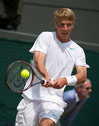 LONDON, ENGLAND - Saturday, July 2, 2011: Liam Broady (GBR) in action during the Boys' Singles Final on day twelve of the Wimbledon Lawn Tennis Championships at the All England Lawn Tennis and Croquet Club. (Pic by David Rawcliffe/Propaganda)