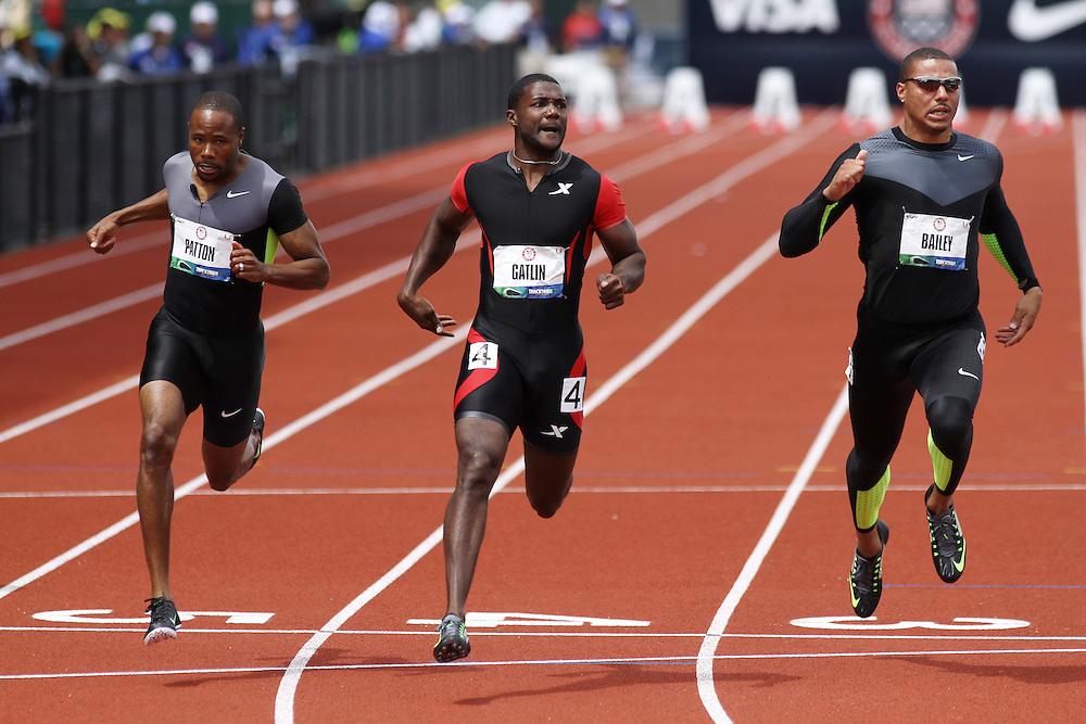 men's 100 meters, Patton, Gatlin, Bailey