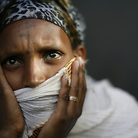 An Ethiopian woman, a few hours before she leaves the Jewish agency compund in Addis Ababa to the airport, in order immigrate to Israel, May 2008.