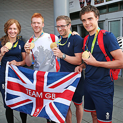 Team GB Olympic Cyclists at Manchester Airport, UK