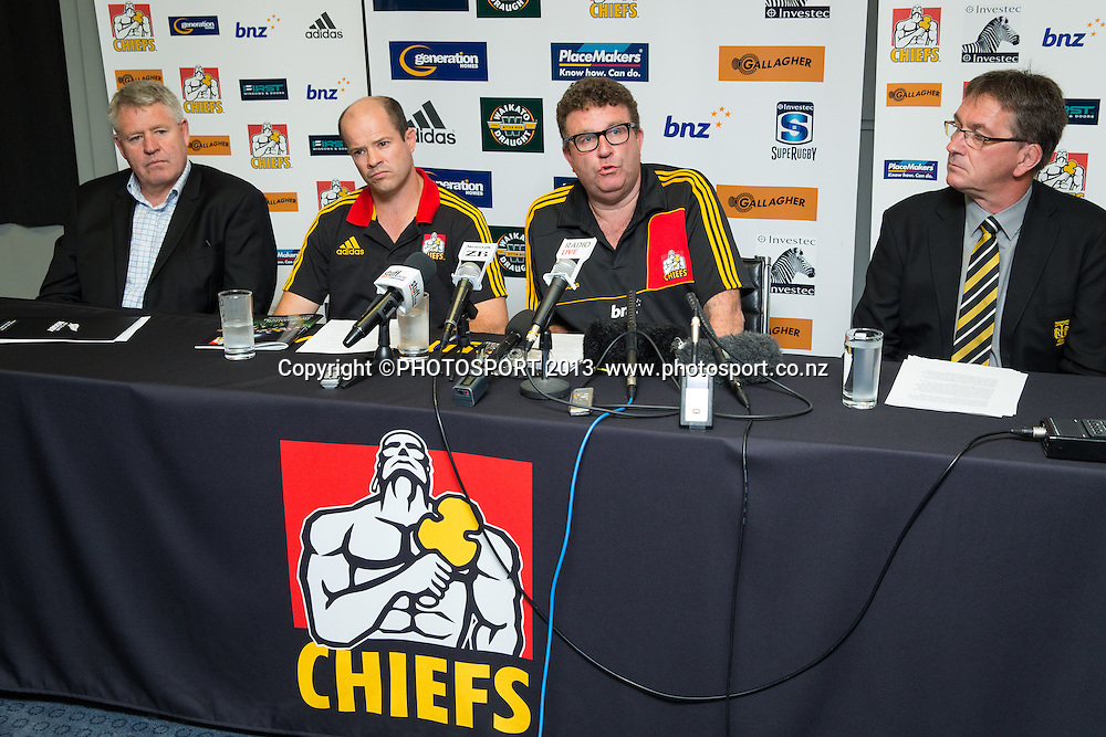 NZR Chief Executive Steve Tew, Chiefs CEO Andrew Flexman, Chiefs Chairman Dallas Fisher, and Taranaki Rugby Football Union Chairman Lindsay Thomson at a press conference announcing a new licence for Super Rugby Chiefs franchise, at their Ruakura headquarters, Hamilton, New Zealand, Tuesday 10 December 2013. Photo: Stephen Barker/Photosport.co.nz