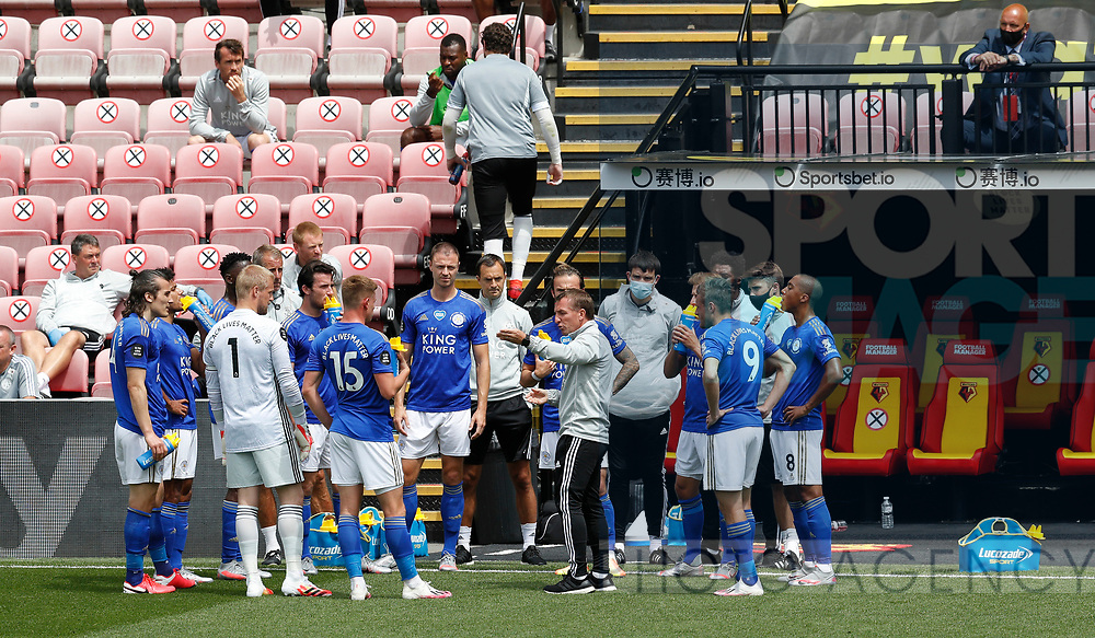 Brendan Rogers manager of Leicester City takes charge during a water break after twenty minutes during the Premier League match at Vicarage Road, Watford. Picture date: 20th June 2020. Picture credit should read: Darren Staples/Sportimage