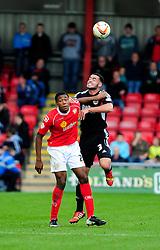 Bristol City's Derrick Williams wins a header - Photo mandatory by-line: Dougie Allward/JMP - Tel: Mobile: 07966 386802 19/10/2013 - SPORT - FOOTBALL - Alexandra Stadium - Crewe - Crewe V Bristol City - Sky Bet League One