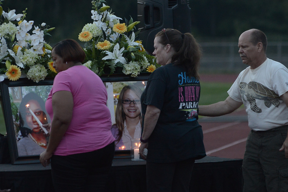 Family, friends, students, district employees and residents gather at a vigil to honor the lives of Janiya Castleberry and Allison McGillis, at Helen Fort Newcomb Middle School in Pemberton, NJ, on Thursday. (Bastiaan Slabbers/for PhillyVoice)