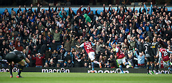 BIRMINGHAM, ENGLAND - Easter Sunday, March 31, 2013: Aston Villa's Christian Benteke celebrates scoring the first goal against Liverpool during the Premiership match at Villa Park. (Pic by David Rawcliffe/Propaganda)