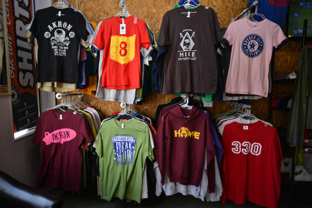 Clothing for sale at Rubber City Clothing.