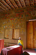 GONDAR, GONDAR/ETHIOPIA..Wall papers and painted wooden ceiling at Debre Birhan Selassie Church..(Photo by Heimo Aga)