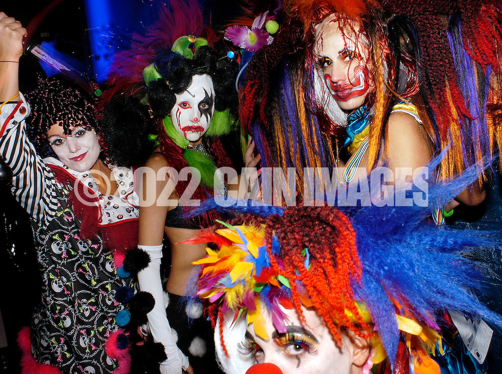 PHILADELPHIA - NOVEMBER 12: Stylists from Cutting Times in Sicklerville, New Jersey parade in their costumes during Hairball 9 at Shampoo Niteclub November 12, 2005 in Philadelphia, Pennsylvania. Hairball, which is the East Coast's largest annual hair design competition featured models sporting outrageous themed hair designs and parade the catwalk. All proceeds from the event will benefit cancer and HIV/AIDS research and treatment at the world-renowned City of Hope National Medical Center and Beckman Research Institute. (Photo by William Thomas Cain/photodx.com)