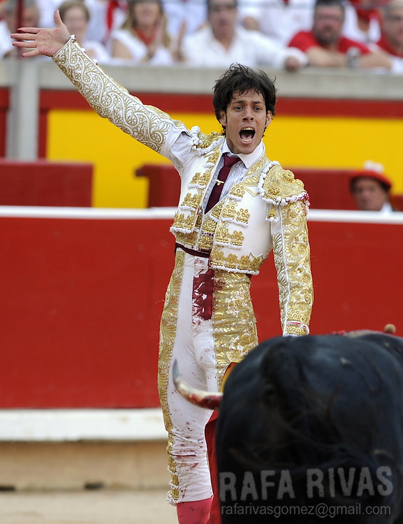 Spanish matador Antonio Nazare reacts after killing with sword his Cebada Gago bull during the third corrida of the San Fermin Festival, on July 9, 2012,  in the Northern Spanish city of Pamplona. PHOTO / Rafa Rivas