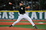 MANHATTAN, KS - APRIL 08:  Picther Tim Kelley of the Wichita State Wheat Shockers delivers a pitch against the Kansas State Wildcats at Tointon Stadium in Manhattan, Kansas.  Wichita State defeated Kansas State 4-3.  (Photo by Peter Aiken/Getty Images)