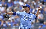 August 24, 2017 - Kansas City, MO, USA - Kansas City Royals relief pitcher Mike Minor throws in the eighth inning during Thursday's baseball game against the Colorado Rockies at Kauffman Stadium in Kansas City, Mo. (Credit Image: © John Sleezer/TNS via ZUMA Wire)