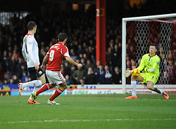 Bristol City's Sam Baldock sees his shot saved by Milton Keynes Dons' David Martin - Photo mandatory by-line: Joe Meredith/JMP - Tel: Mobile: 07966 386802 18/01/2014 - SPORT - FOOTBALL - Ashton Gate - Bristol - Bristol City v MK Dons - Sky Bet League One