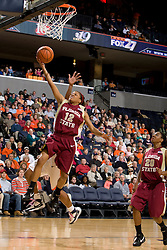 Florida St. guard Courtney Ward (12) shoots a layup against Virginia.  The Virginia Cavaliers women's basketball team hosted the Florida State Seminoles at the John Paul Jones Arena in Charlottesville, VA on February 10, 2008.