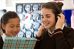 Yasmin Morgan 13, Harolds Cross and Kim Ryan 13 from Donnybrook are pictured at SciFest@ITB 2014 with their project 'How Does Music Effect Our Cognitive Ability'. Picture Andres Poveda