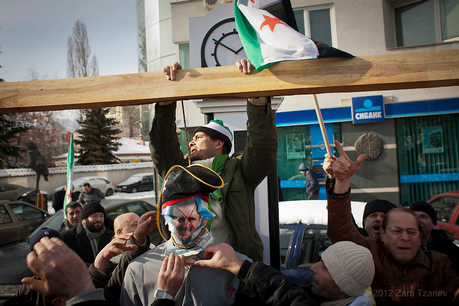 Activists converged on the Syrian embassy during an anti-Assad rally in Sofia  January 8, 2012. The protesters hanged a  Bashar al-Assad  effigy and demanded an end to what they say is the most inhumane dictatorship in the world today. ENN Photo/Zara Tzanev