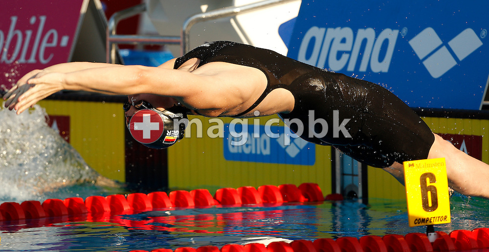 Daniela SAMULSKI of Germany starts in the women's 100m Backstroke Final at the European Swimming Championship at the Hajos Alfred Swimming complex in Budapest, Hungary, Thursday, Aug. 12, 2010. (Photo by Patrick B. Kraemer / MAGICPBK)