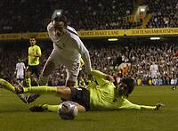 Photo: Olly Greenwood.<br />Tottenham Hotspur v FC Braga. UEFA Cup. 14/03/2007. Spurs Dimitar Berbatov goes roung FC Braga's Carlos Fernandes