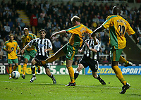 Photo. Andrew Unwin.<br /> Newcastle United v Norwich, Barclays Premiership, St James Park, Newcastle upon Tyne 25/08/2004.<br /> Norwich's Gary Doherty (C) scores his team's second goal, levelling the scores