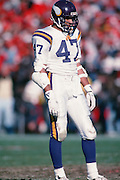 Minnesota Vikings strong safety Joey Browner (47) waits for the play during the NFC Divisional Playoff NFL football game against the San Francisco 49ers on January 1, 1989 in San Francisco, CA. The 49ers won the game 34-9. ©Paul Anthony Spinelli