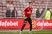 Sunderland goalkeeper Vito Mannone  during the Barclays Premier League match between Sunderland and Manchester City at the Stadium Of Light, Sunderland, England on 2 February 2016. Photo by Simon Davies.