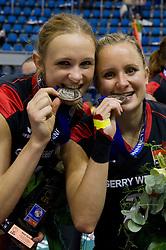 02.10.2011, Hala Pionir, Belgrad, SRB, Europameisterschaft Volleyball Frauen, Siegerehrung, im Bild Margareta Kozuch (#14 GER / Sopot POL), Kathleen Weiß / Weiss (#2 GER) // during the 2011 CEV European Championship, Awarding Ceremony at Hala Pionir, Belgrade, SRB, 2011-10-02. EXPA Pictures © 2011, PhotoCredit: EXPA/ nph/  Kurth       ****** out of GER / CRO  / BEL ******