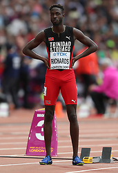 London, 2017 August 07. Jereem Richards, Trinidad and Tobago, in the men's 200m heats on day four of the IAAF London 2017 world Championships at the London Stadium. © Paul Davey.