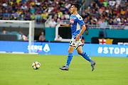 SSC Napoli midfielder Eljif Elmas (12) dribbles the ball up the field in a game against FC Barcelona during a La Liga-Serie A Cup soccer match, Wednesday, Aug. 7, 2019, in Miami Gardens, Fla. FC Barcelona beat Napoli 2-1 (Kim Hukari/Image of Sport)