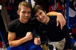Miha Stebih and Gasper Cerkovnik  in wardrobe prior to the Practice session of Slovenian U20 ice-hockey team, on December 08, 2011 in Ledena dvorana, Bled, Slovenia. (Photo By Vid Ponikvar / Sportida.com)