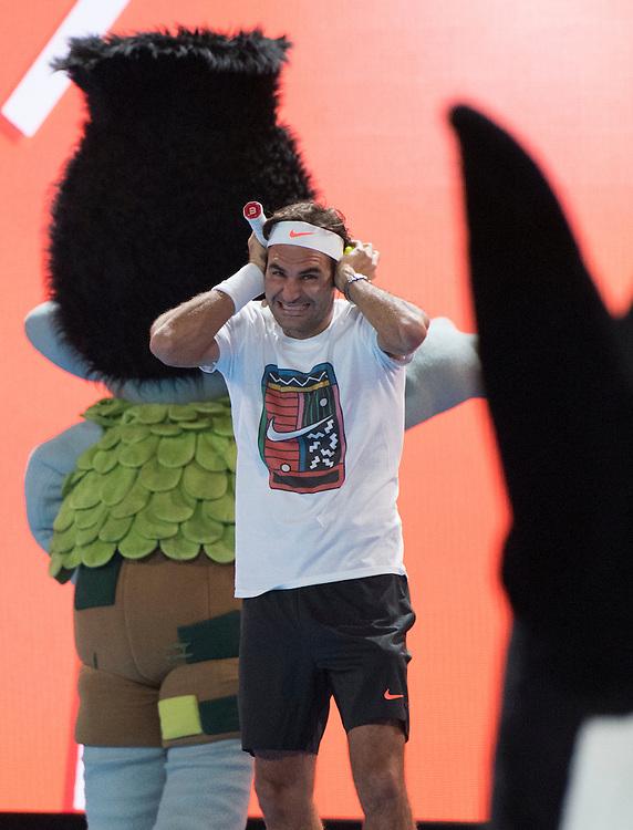 Roger Federer at Kids Day on Rod Laver Arena ahead of the 2017 Australian Open at Melbourne Park on January 14, 2017 in Melbourne, Australia.<br /> (Ben Solomon/Tennis Australia)