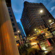 Downtown Kansas City Street Scene - 14th & Baltimore on a summer night as a thunderstorm passed through.
