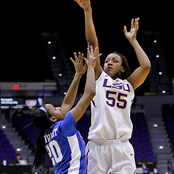 February 5, 2011; Baton Rouge, LA; LSU Lady Tigers forward LaSondra Barrett (55) shoots over Kentucky Wildcats guard Maegan Conwright (20)during the second half of a game at the Pete Maravich Assembly Center. LSU defeated Kentucky 61-51.  Mandatory Credit: Derick E. Hingle-US PRESSWIRE