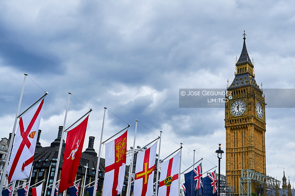 Big Ben and the flags