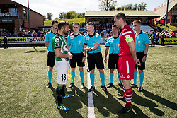 NEWTOWN, WALES - Sunday, May 6, 2018:  Referee Iwan Griffith conducts the pre-match coin toss ahead of the FAW Welsh Cup Final between Aberystwyth Town and Connahs Quay Nomads at Latham Park. (Pic by Paul Greenwood/Propaganda)