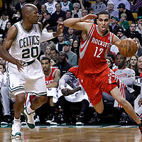 06 March 2012: Houston Rockets shooting guard Kevin Martin (12) drives past Boston Celtics shooting guard Ray Allen (20) during the Boston Celtics 97-92 (OT) victory over the Houston Rockets at the TD Garden, Boston, Massachusetts, USA.