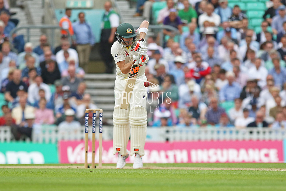 Steven Smith of Australia plays a defensive shot during the 1st day of the 5th Investec Ashes Test match between England and Australia at The Oval, London, United Kingdom on 20 August 2015. Photo by Phil Duncan.
