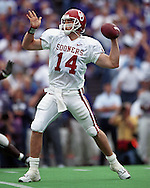 Oklahoma quarterback Josh Heupel drops back to pass against Kansas State at KSU Stadium in Manhattan, Kansas in 2000.